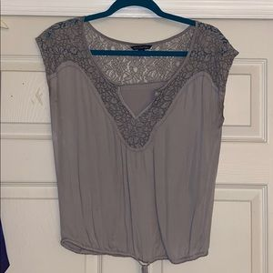 Light purple/gray lace top blouse